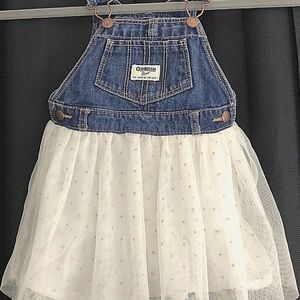 2T Osh Gosh Denim Dress Overalls Tulle Skirt
